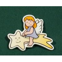 Angel estrella iman 5 cm madera La lluna