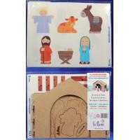 Nacimiento con Portal y adhesivos 8 cm madera La lluna