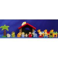 Nacimiento con reyes y camellos nazaret  6-10 cm madera La lluna
