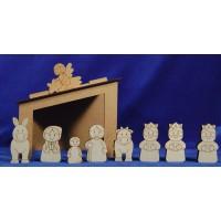Nacimiento con reyes para pintar 7 cm madera La lluna