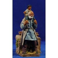 Pastor con niño a cuello movimiento 12 cm ropa y barro