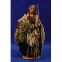 Pastora con escoba y fajo paja 25 cm ropa y barro