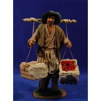 Pastor con caja de madera con verdura 25 cm ropa y barro