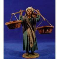 Pastora portando cuatro cestos 25 cm ropa y barro