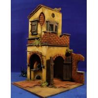 Casa con doble arco 40x25x25 cm corcho