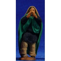 Pastor músico con flauta 6 cm ropa y barro