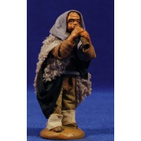 Pastor músico con flauta 9 cm ropa y barro