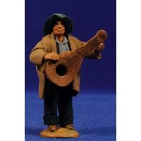 Pastor músico con guitarra 9 cm ropa y barro