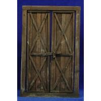 Puerta ventana cuadrada 21 cm madera
