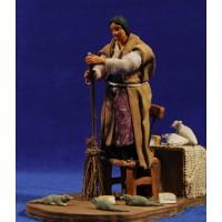 Pastora que barre ratas movimiento 12 cm ropa y barro