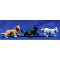 Conjunto 3 gatos 7 cm plástico Oliver