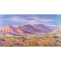 Fondo montañas y pueblo 120x65 cm papel Oliver