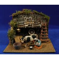 Escena pastora ordeñando vaca en vaqueria 10 cm durexina Oliver