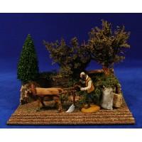Escena pastor labrador con buey 10 cm durexina Oliver