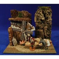 Escena molinero con asno y molino eléctrico  8 cm durexina Oliver