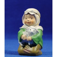 Pastor adorando con cordero naïf 10 cm marmolina Oliver
