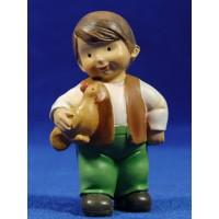 Pastor con gallina naïf 10 cm marmolina Oliver