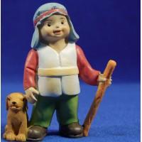 Pastor con perro naïf 10 cm marmolina Oliver