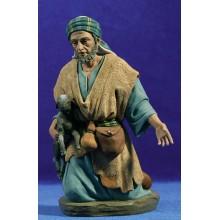 Pastor adorando con cabra 28 cm barro pintado Perez