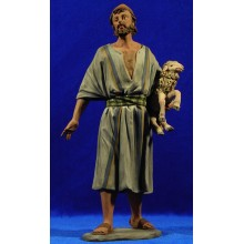 Pastor con oveja 28 cm barro pintado Perez