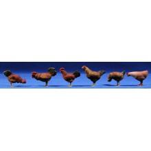 Gallos y gallinas 15 cm barro pintado belénes Puig