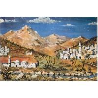 Fondo montañas y pueblo 100x70 cm papel belénes Puig