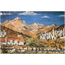 Fondo montañas y pueblo 100x70 cm papel Belenes Puig