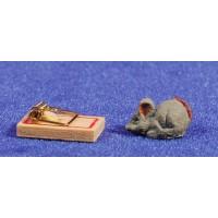 Ratón con queso 1,5 cm resina