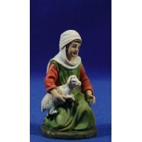 Pastora adorando con cordero 11 cm resina