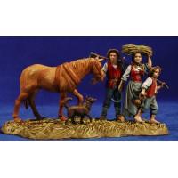 Campesinos con caballo 10 cm plástico Moranduzzo estilo ebraico