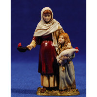 Pastora embarazada con niña 10 cm plástico Moranduzzo - Landi estilo ebraico