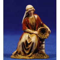 Pastora sentada en un muro 10 cm plástico Moranduzzo - Landi estilo ebraico