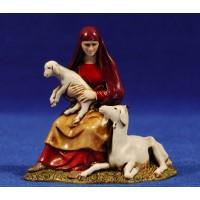 Pastora sentada con cordero 10 cm plástico Moranduzzo - Landi estilo ebraico