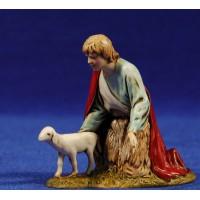 Pastor con capa adorando con cordero 10 cm plástico Moranduzzo - Landi estilo ebraico
