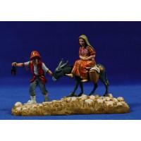 Pastores con asno 10 cm plástico Moranduzzo - Landi estilo 700