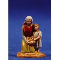 Pastora y niña adorando 3,5 cm plástico Moranduzzo - Landi estilo 700