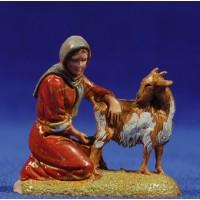 Pastora ordeñando cabra 6 cm plástico Moranduzzo - Landi