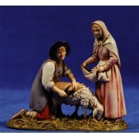 Pastor esquilando y mujer 8 cm plástico Moranduzzo - Landi estilo ebraico