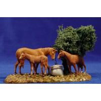 Grupo caballos y arbol 8 cm plástico Moranduzzo - Landi