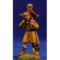 Pastor con niño en hombros 10 cm plástico Moranduzzo estilo 700