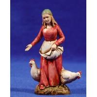 Pastora con gallinas 10 cm plástico Moranduzzo - Landi estilo 700