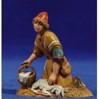 Pastor adorando con cordero 10 cm plástico Moranduzzo - Landi estilo ebraico