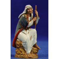 Pastor sentado con bastón 10 cm plástico Moranduzzo - Landi estilo ebraico