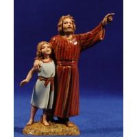 Pastor con niña señalando 10 cm plástico Moranduzzo - Landi estilo ebraico