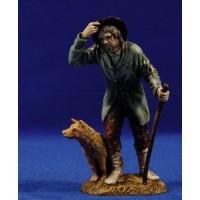 Pastor con sombrero y saludando y perro 12-13  cm plástico Moranduzzo - Landi estilo 700