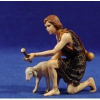 Pastor adorando con cordero 12-13  cm plástico Moranduzzo - Landi estilo ebraico