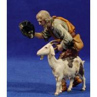 Pastor barba blanca y cabra 12-13  cm plástico Moranduzzo - Landi estilo ebraico
