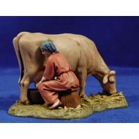 Pastora ordeñando vaca 12-13  cm resina Moranduzzo - Landi