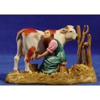 Pastora ordeñando vaca 10 cm plástico Moranduzzo - Landi