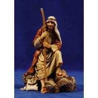 Pastor sentado con bastón 12-13  cm plástico Moranduzzo - Landi estilo ebraico